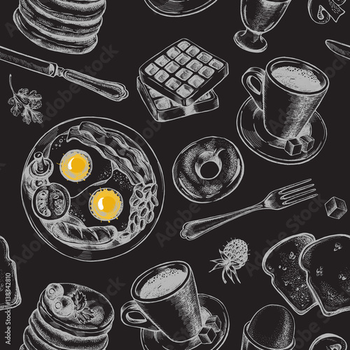 Tapeta Seamless pattern with hand-drawn breakfast elements. Vector illustration.