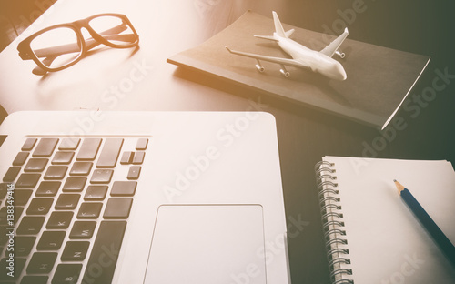 Business travel agency on computer working desk