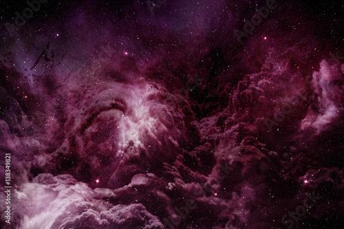 purple nebula and cosmic dust in starry sky - 138349821