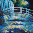 Original oil painting on canvas - Bridge through a pond with water lilies - 138360221