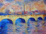 Original oil painting on canvas - London Bridge in impressionism style