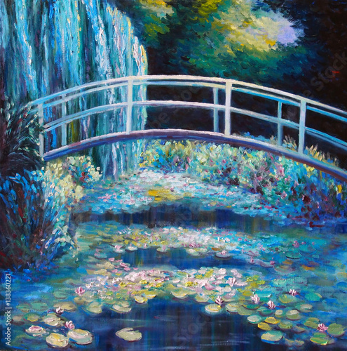 Original oil painting on canvas - Bridge through a pond with water lilies © shvets_tetiana