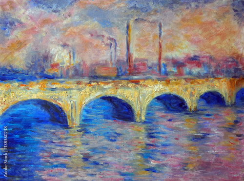 Original oil painting on canvas - London Bridge in impressionism style © shvets_tetiana