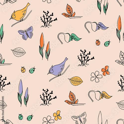 Hello Spring vector seamless pattern