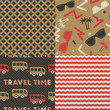 Set of Travel Patterns. Collection of 4 holiday themed retro seamless patterns