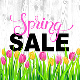 Fototapety Spring Sale banner with colorfull tulips on wood texture background. Vector illustration.