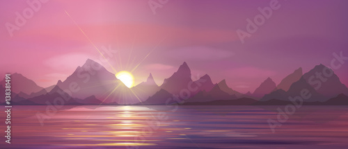 Aluminium Vector sea scene sunset in mountains.