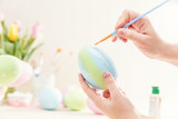 Pastel Easter egg handmade in a worshop.