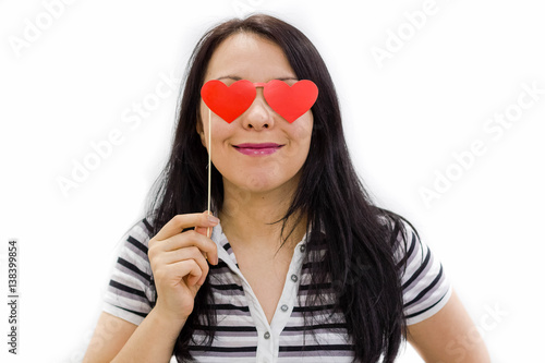emoji concept: woman with the hearts instead of her eyes Poster