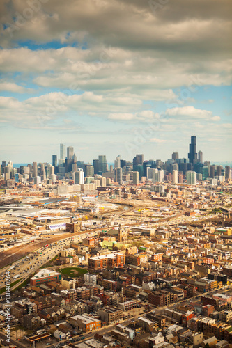Papiers peints Chicago Aerial view of Chicago and suburbs, Illinois