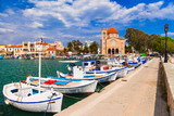 Authentic beautiful Greek islands -Aegina with traditional fishing boats, Saronics