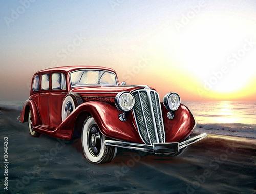 voiture-rouge-retro-et-mer