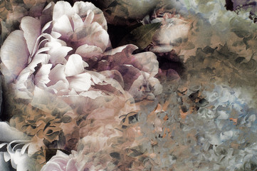 Fabric silk pale pink with white flowers. background of fabric