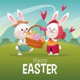 happy easter card couple bunny basket egg landscape vector illustration eps 10