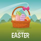 happy easter card basket egg landscape vector illustration eps 10