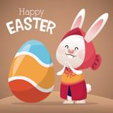 happy easter card girl bunny egg decoration vector illustration eps 10