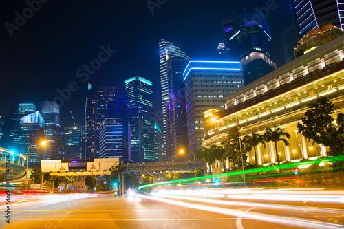 Singapore traffic road at night Poster