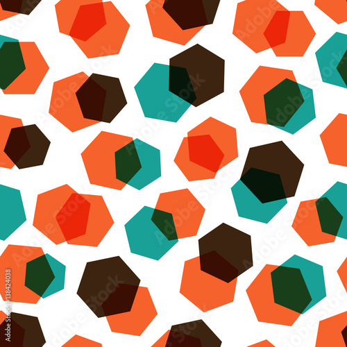 Stylish vector seamless geometric pattern made of casual hexagons randomly colored in modern bright colors