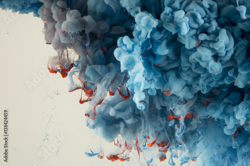 Abstract Colourful Paint in Water Background - 138424459