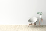 3d illustration of empty wall white interior - 138439254