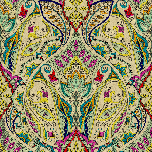 India seamless paisley pattern, decorative border for textile, wrapping, decor. Bohemian design - 138439400