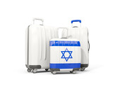 Luggage with flag of israel. Three bags isolated on white