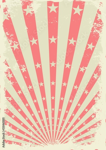Aluminium Vintage Poster Grunge vintage background with stars and sunbeams