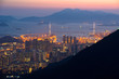 Top view from The lion rock park, sunset onver Kowloon and Hong kong sky.