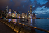 Hong Kong central business district over Victoria Bay at night