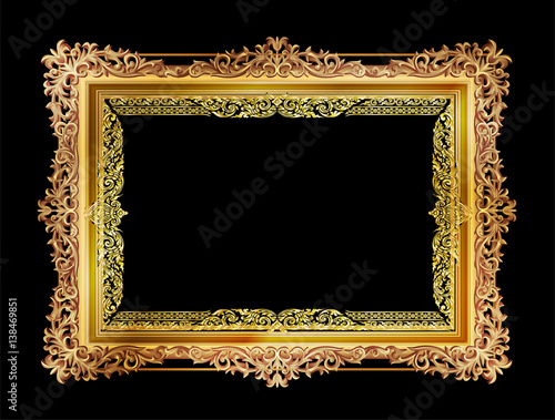 Stampa su Tela Gold photo frames with corner thailand line floral for picture, Vector frame design decoration pattern style