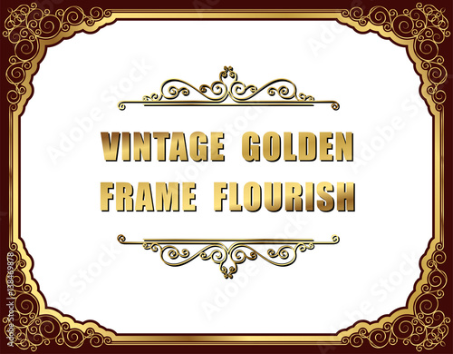 Gold photo frames with corner thailand line floral for picture, Vector frame design decoration pattern style Poster