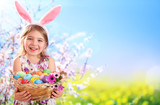 Fototapety Easter - Little Girl With Basket Eggs And Bunny Ears
