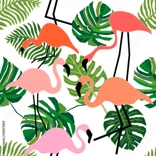 Cotton fabric Flamingo in tropical forest.