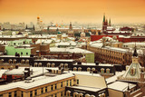 Horizon and views of the city of Moscow. View of the historic center in the Kremlin's side