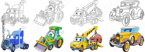 Plexiglas Auto Cartoon transport set. Collection of vehicles. Heavy semi truck (trailer, lorry), tractor (bulldozer), tow truck (evacuator), luxury retro old car. Coloring book pages for kids.