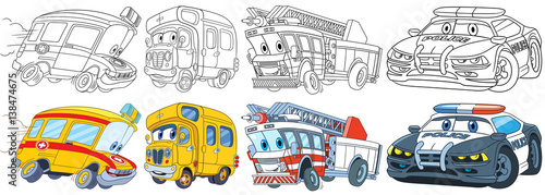 Aluminium Auto Cartoon transport set. Collection of vehicles. Ambulance, school bus, fire truck, police car. Coloring book pages for kids.