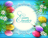 Vector background for Easter. Colored eggs, flowers, daisies, grass lying on a blue wooden board