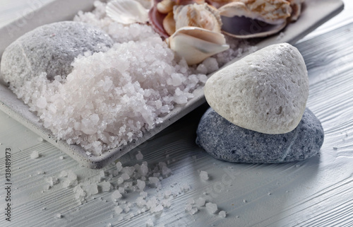 Sea salt  with stones and shells
