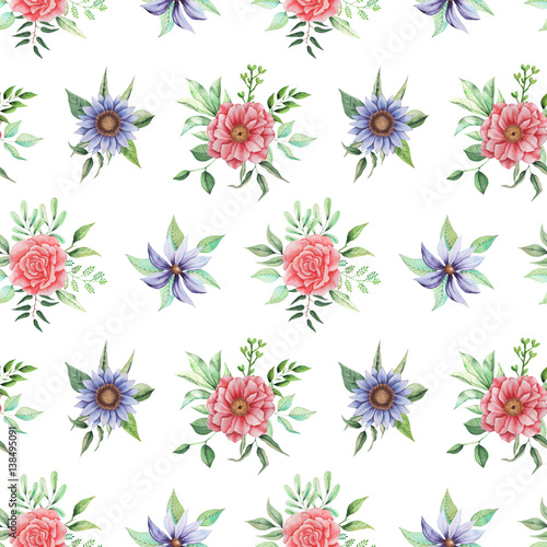 Seamless watercolor pattern with flowers and leaves, isolated on white background - 138495091