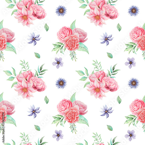 Seamless watercolor pattern with flowers and leaves, isolated on white background - 138495274