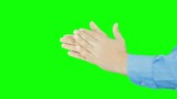 male hands businessman clapping isolated green screen