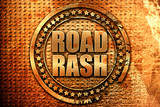 road rash, 3D rendering, metal text