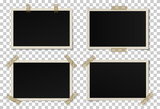 Fototapety Vector set of black photo frames with various shadows. Glued with adhesive tape mock up of frames
