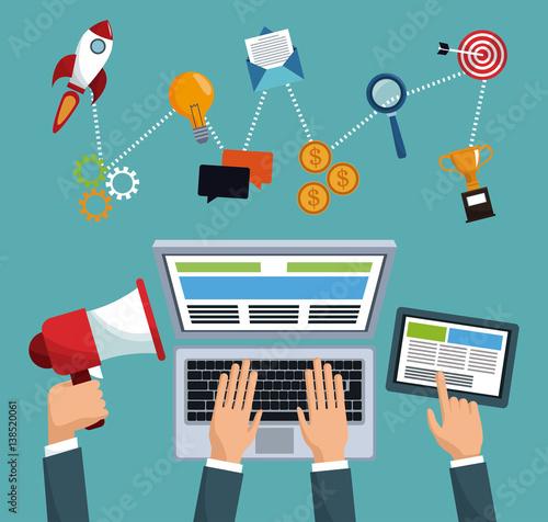 digital marketing working technology vector illustration eps 10