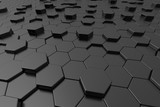 Abstract black hexagon background 3d.