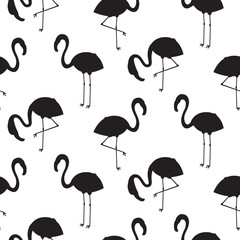 Flamingo silhouette seamless vector texture. Black and white bird stencil pattern.