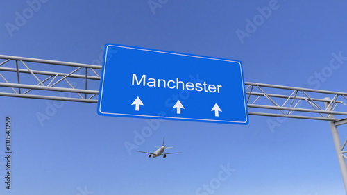 Commercial airplane arriving to Manchester airport. Travelling to United Kingdom conceptual 3D rendering