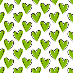 Seamless vector pattern with greenery hearts.