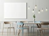 Mock up poster in dining room, hipster background, 3d render, 3d illustration