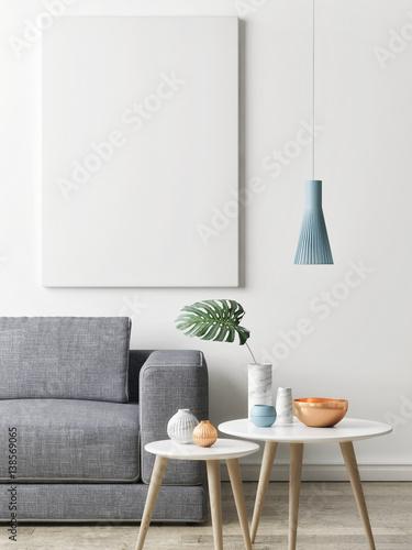 Close up poster in hipster living room background, 3d illustration, 3d render